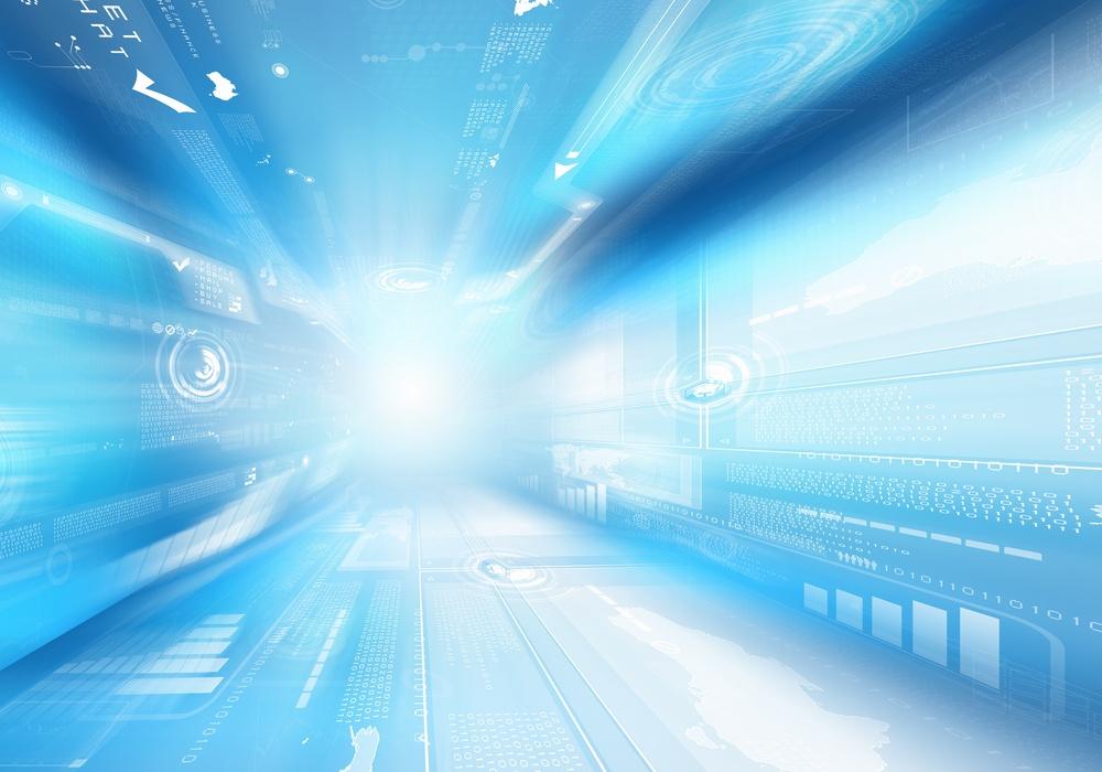 Digital blue background image with technology symbols.jpeg class=